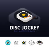 Ícone do disco-jóquei no estilo diferente Fotografia de Stock