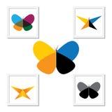 Ícone do logotipo do vetor - borboletas bonitas coloridas ajustadas Fotografia de Stock