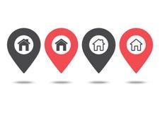 ?cone do lugar da casa Ponteiro do mapa Pinos vermelhos e pretos Ilustra??o do vetor ilustração stock