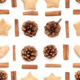 Cone do pinho, canela, teste padrão ajustado da coleção do Natal das cookies Fotos de Stock Royalty Free