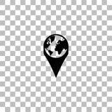 ?cone do pino do globo horizontalmente ilustração do vetor