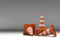 cone do tráfego do grupo 3d Fotografia de Stock