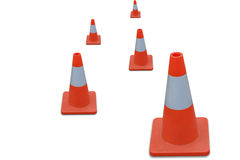 Cone do tráfego isolado na terra da parte traseira do branco Fotografia de Stock