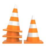 Cone do tráfego rodoviário isolado no fundo branco Foto de Stock