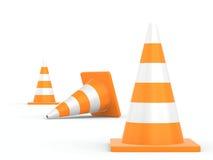 Cone do tráfego rodoviário isolado no fundo branco Fotografia de Stock