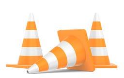 Cone do tráfego rodoviário isolado no fundo branco Fotos de Stock