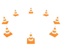 Cone do tráfego rodoviário isolado no fundo branco Foto de Stock Royalty Free