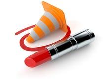 Cone do tráfego selecionado com batom ilustração do vetor