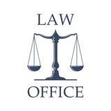 Ícone do vetor do escritório de advogados com as escalas de justiça Imagem de Stock