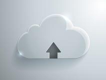 Ícone do vidro da nuvem da transferência de arquivo pela rede Fotos de Stock Royalty Free