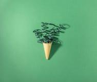 Cone do waffle com flâmulas em um fundo verde imagem de stock royalty free