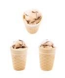 Cone do waffle do estilo da bolacha isolado Imagens de Stock Royalty Free