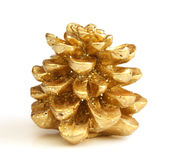 Cone dourado isolado do pinho do Natal Imagem de Stock