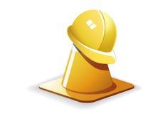 Cone e capacete do tráfego Fotografia de Stock