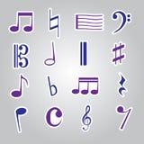 Ícone eps10 ajustado das etiquetas da nota da música Fotos de Stock