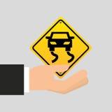 Ícone escorregadiço do carro do sinal de estrada Foto de Stock