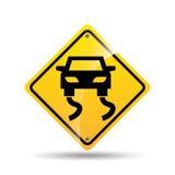 Ícone escorregadiço do carro do sinal de estrada Fotos de Stock
