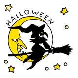 Ícone feliz dos desenhos animados de Dia das Bruxas com bruxa Foto de Stock