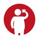 Ícone gordo do fast food da silhueta do homem Imagens de Stock