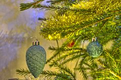 Cone hanging on Christmas tree royalty free stock photography