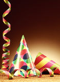 Cone Hats and Paper Streamer for Party Royalty Free Stock Photography