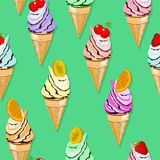 Cone ice cream pattern Stock Image