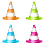 Cone icons. Vector traffic cone icons 4 color Royalty Free Stock Image