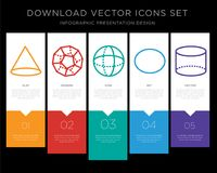 Cone infographics design icon vector. 5 vector icons such as Cone, Dodecahedron, Sphere, Circle, Cylinder for infographic, layout, annual report, pixel perfect Royalty Free Stock Photography