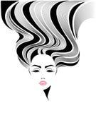 Ícone longo do penteado das mulheres, cara das mulheres do logotipo no fundo branco Fotografia de Stock