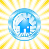 Ícone lustroso azul com uma casa nela Fotografia de Stock