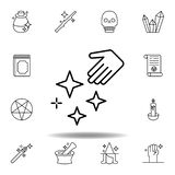 ?cone m?gico do esbo?o da m?o e das estrelas elementos da linha mágica ícone da ilustração os sinais, símbolos podem ser usados p ilustração royalty free