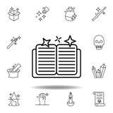 ?cone m?gico do esbo?o do livro elementos da linha mágica ícone da ilustração os sinais, símbolos podem ser usados para a Web, lo ilustração stock