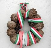 Cone memory wreath Stock Photo
