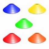 Cone multicolorido do futebol do futebol isolado imagens de stock royalty free