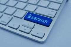 Ícone no botão moderno do teclado de computador, seminário de Webinar em linha Fotos de Stock Royalty Free