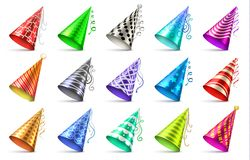 Cone paper hat with birthday decoration elements. Party caps isolated vector set. Birthday hat cone paper for festive anniversary illustration Royalty Free Stock Images