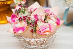 Cone paper roses wedding. Stock Photography