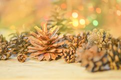Cone pine on gold glowing bokeh. Christmas decoration with cone pine on gold glowing bokeh lights.  Pine cones with Christmas lights Royalty Free Stock Photos