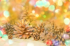 Cone pine on gold glowing bokeh. Christmas decoration with cone pine on gold glowing bokeh lights.  Pine cones with Christmas lights Stock Image