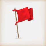Ícone realístico da bandeira vermelha Fotos de Stock