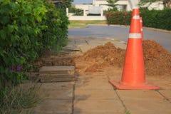 Cone red  construction roadblock danger Royalty Free Stock Photos