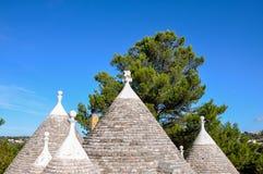 Cone roofs of a trullo, Cisternino (Italy) Royalty Free Stock Photos