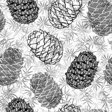 Cone seamless pattern. Black and white  background. Royalty Free Stock Photos