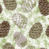 Cone seamless pattern. Hand-drawn  background. Cones. Endless  background. Hand-drawn  illustration of a forest Royalty Free Stock Photos