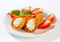 Cone-shaped Gingerbread Cookies With Whipped Cream And Strawberries Royalty Free Stock Photography