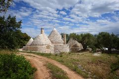 Cone-shaped trulli houses and olive trees in Apulia stock photos