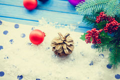 Cone on snow background. With branch Royalty Free Stock Photography