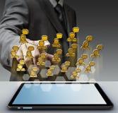 ícone social da rede do pixel 3d Imagens de Stock