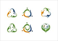 Ícone social do logotipo do sócio da equipe dos povos da rede Imagens de Stock Royalty Free