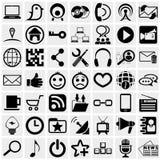Ícone social do vetor dos meios ajustado no cinza Imagens de Stock Royalty Free